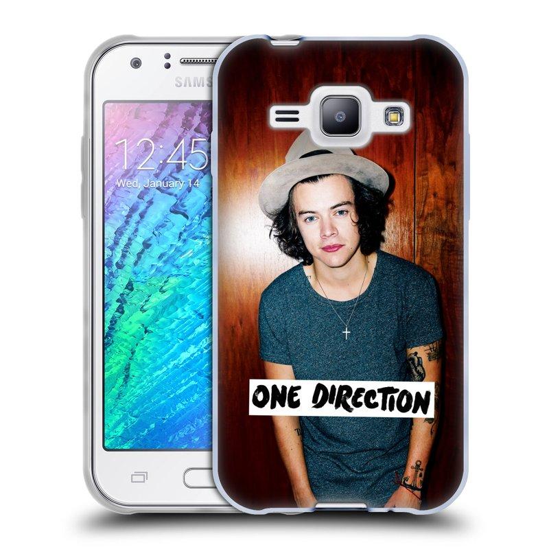 Silikonové pouzdro na mobil Samsung Galaxy J1 HEAD CASE One Direction - Harry (Silikonový kryt či obal One Direction Official na mobilní telefon Samsung Galaxy J1 a J1 Duos)