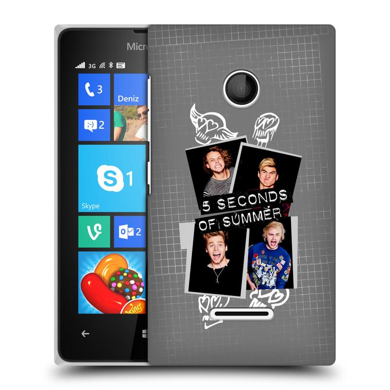 Plastové pouzdro na mobil Microsoft Lumia 435 HEAD CASE 5 Seconds of Summer - Band Grey (Plastový kryt či obal na mobilní telefon licencovaným motivem 5 Seconds of Summer pro Microsoft Lumia 435)