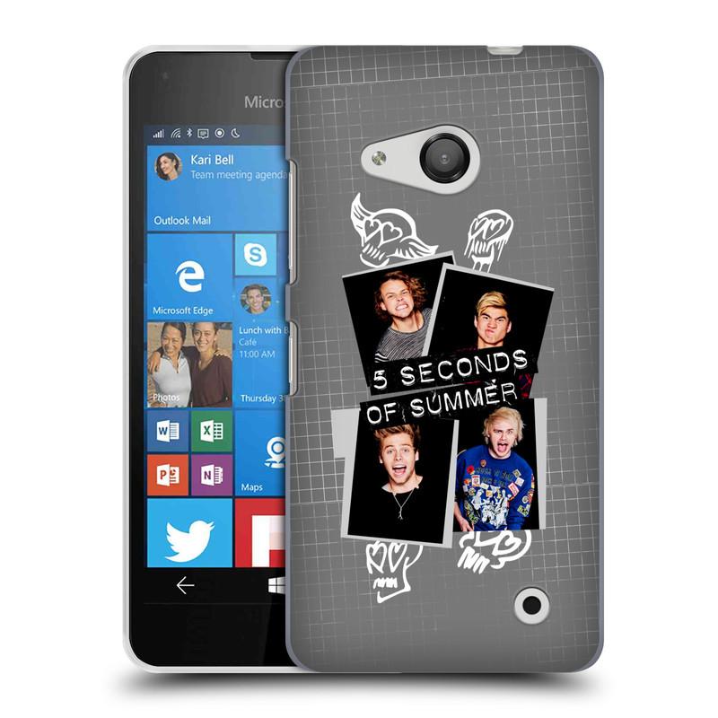 Plastové pouzdro na mobil Microsoft Lumia 550 HEAD CASE 5 Seconds of Summer - Band Grey (Plastový kryt či obal na mobilní telefon licencovaným motivem 5 Seconds of Summer pro Microsoft Lumia 550)