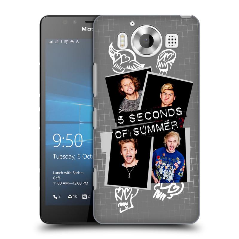 Plastové pouzdro na mobil Microsoft Lumia 950 HEAD CASE 5 Seconds of Summer - Band Grey (Plastový kryt či obal na mobilní telefon licencovaným motivem 5 Seconds of Summer pro Microsoft Lumia 950)