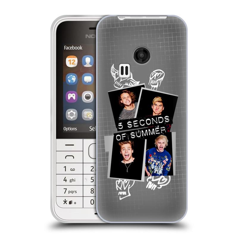 Silikonové pouzdro na mobil Nokia 220 HEAD CASE 5 Seconds of Summer - Band Grey (Silikonový kryt či obal na mobilní telefon licencovaným motivem 5 Seconds of Summer pro Nokia 220 a 220 Dual SIM)