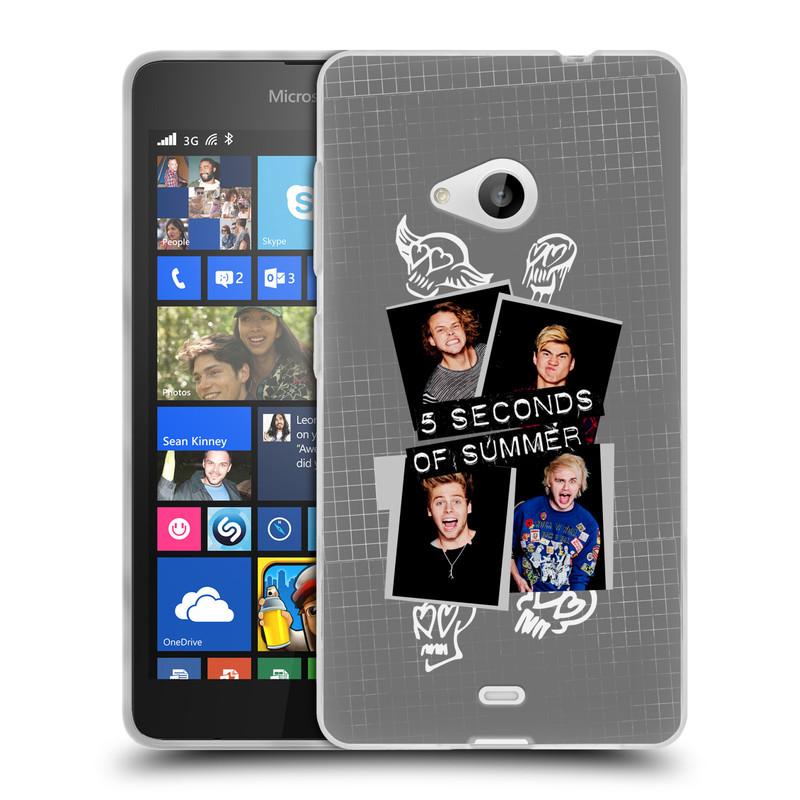 Silikonové pouzdro na mobil Microsoft Lumia 535 HEAD CASE 5 Seconds of Summer - Band Grey (Silikonový kryt či obal na mobilní telefon licencovaným motivem 5 Seconds of Summer pro Microsoft Lumia 535)