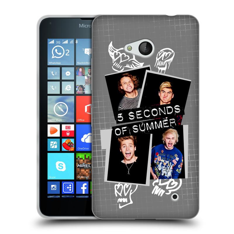 Silikonové pouzdro na mobil Microsoft Lumia 640 HEAD CASE 5 Seconds of Summer - Band Grey (Silikonový kryt či obal na mobilní telefon licencovaným motivem 5 Seconds of Summer pro Microsoft Lumia 640)