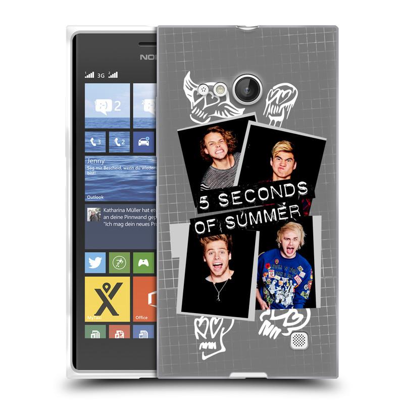 Silikonové pouzdro na mobil Nokia Lumia 730 Dual SIM HEAD CASE 5 Seconds of Summer - Band Grey (Silikonový kryt či obal na mobilní telefon licencovaným motivem 5 Seconds of Summer pro Nokia Lumia 730 Dual SIM)