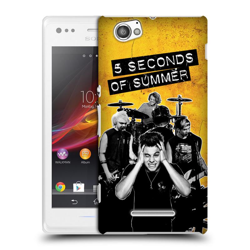 Plastové pouzdro na mobil Sony Xperia M C1905 HEAD CASE 5 Seconds of Summer - Band Yellow (Plastový kryt či obal na mobilní telefon licencovaným motivem 5 Seconds of Summer pro Sony Xperia M )