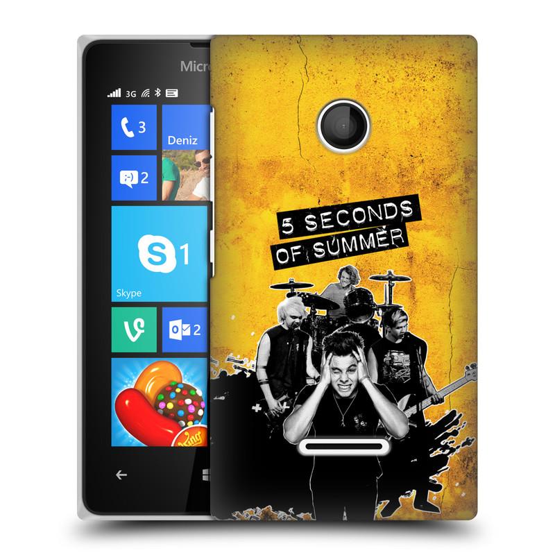 Plastové pouzdro na mobil Microsoft Lumia 435 HEAD CASE 5 Seconds of Summer - Band Yellow (Plastový kryt či obal na mobilní telefon licencovaným motivem 5 Seconds of Summer pro Microsoft Lumia 435)