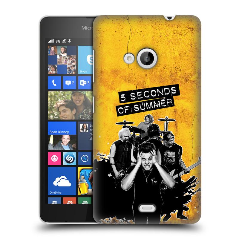 Plastové pouzdro na mobil Microsoft Lumia 535 HEAD CASE 5 Seconds of Summer - Band Yellow (Plastový kryt či obal na mobilní telefon licencovaným motivem 5 Seconds of Summer pro Microsoft Lumia 535)