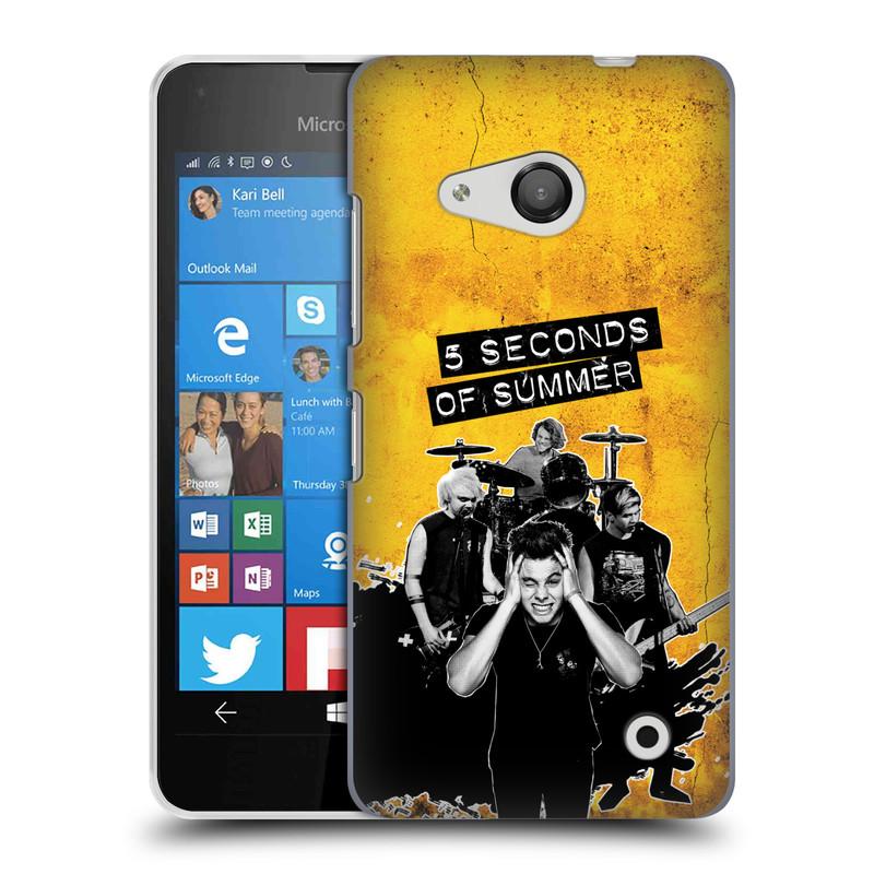Plastové pouzdro na mobil Microsoft Lumia 550 HEAD CASE 5 Seconds of Summer - Band Yellow (Plastový kryt či obal na mobilní telefon licencovaným motivem 5 Seconds of Summer pro Microsoft Lumia 550)