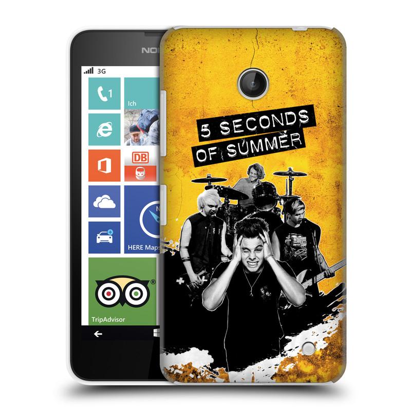 Plastové pouzdro na mobil Nokia Lumia 630 HEAD CASE 5 Seconds of Summer - Band Yellow (Plastový kryt či obal na mobilní telefon licencovaným motivem 5 Seconds of Summer pro Nokia Lumia 630 a Nokia Lumia 630 Dual SIM)