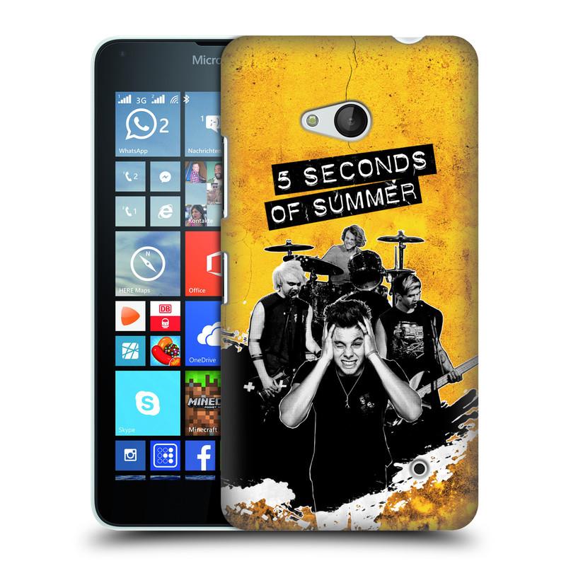 Plastové pouzdro na mobil Microsoft Lumia 640 HEAD CASE 5 Seconds of Summer - Band Yellow (Plastový kryt či obal na mobilní telefon licencovaným motivem 5 Seconds of Summer pro Microsoft Lumia 640)