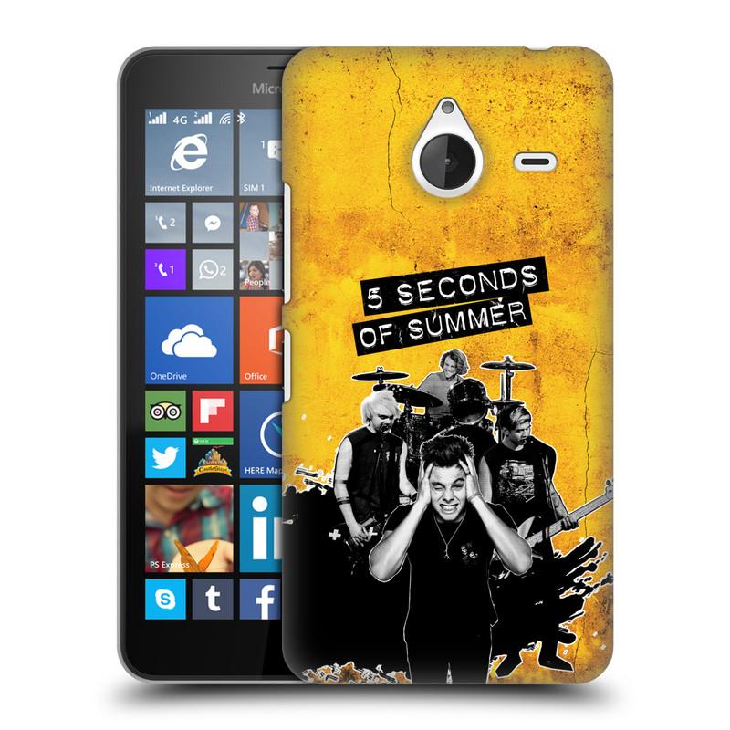 Plastové pouzdro na mobil Microsoft Lumia 640 XL HEAD CASE 5 Seconds of Summer - Band Yellow (Plastový kryt či obal na mobilní telefon licencovaným motivem 5 Seconds of Summer pro Microsoft Lumia 640 XL)