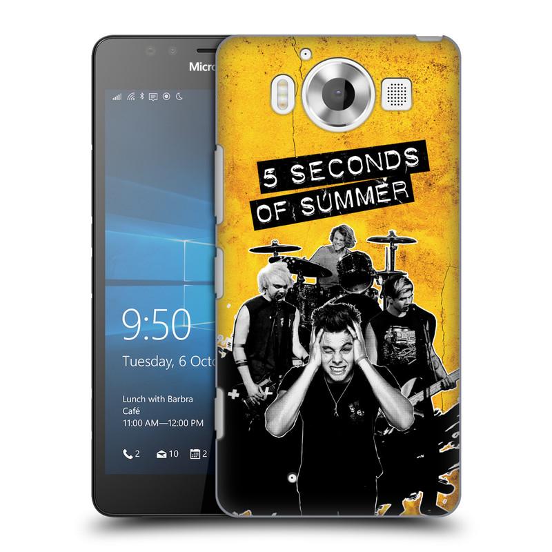 Plastové pouzdro na mobil Microsoft Lumia 950 HEAD CASE 5 Seconds of Summer - Band Yellow (Plastový kryt či obal na mobilní telefon licencovaným motivem 5 Seconds of Summer pro Microsoft Lumia 950)
