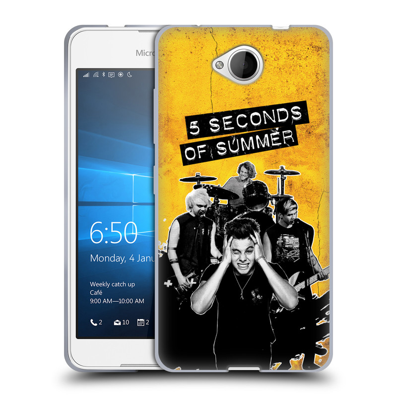 Silikonové pouzdro na mobil Microsoft Lumia 650 HEAD CASE 5 Seconds of Summer - Band Yellow (Silikonový kryt či obal na mobilní telefon licencovaným motivem 5 Seconds of Summer pro Microsoft Lumia 650)