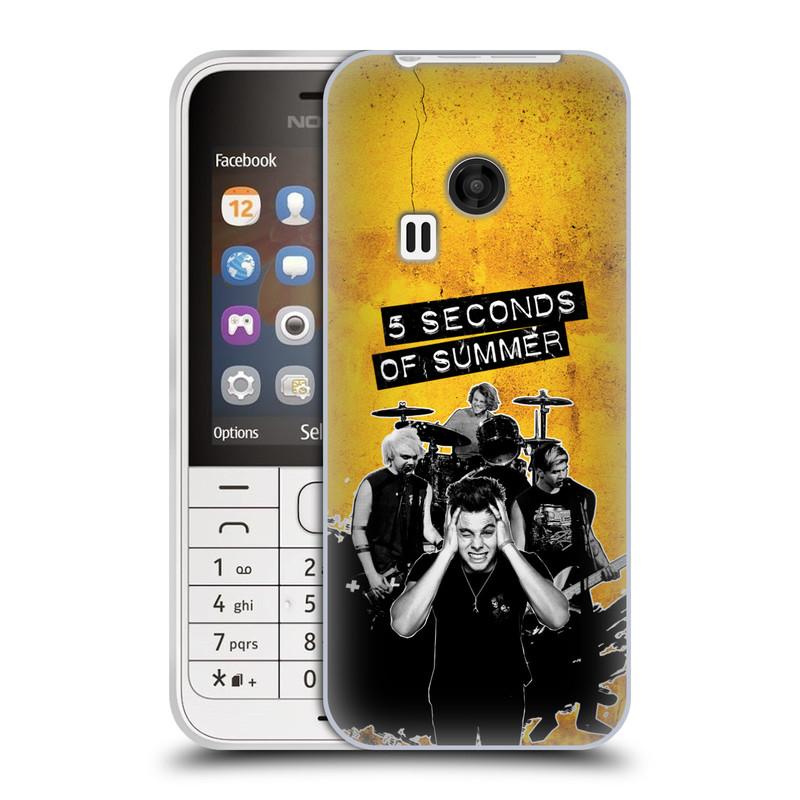 Silikonové pouzdro na mobil Nokia 220 HEAD CASE 5 Seconds of Summer - Band Yellow (Silikonový kryt či obal na mobilní telefon licencovaným motivem 5 Seconds of Summer pro Nokia 220 a 220 Dual SIM)