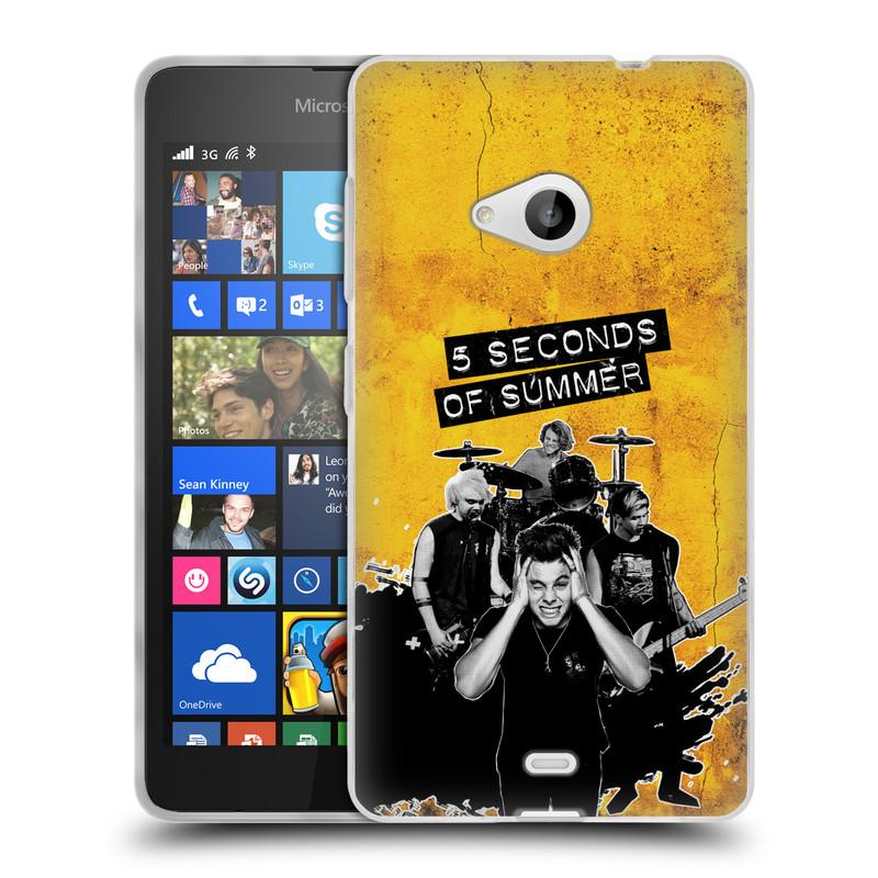 Silikonové pouzdro na mobil Microsoft Lumia 535 HEAD CASE 5 Seconds of Summer - Band Yellow (Silikonový kryt či obal na mobilní telefon licencovaným motivem 5 Seconds of Summer pro Microsoft Lumia 535)