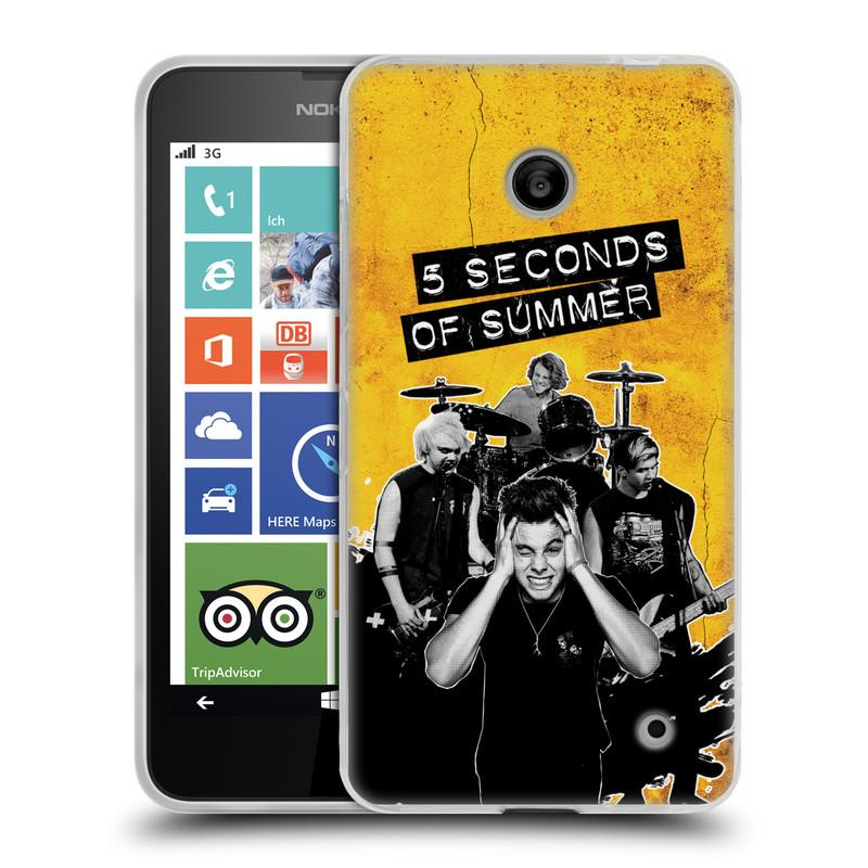 Silikonové pouzdro na mobil Nokia Lumia 630 HEAD CASE 5 Seconds of Summer - Band Yellow (Silikonový kryt či obal na mobilní telefon licencovaným motivem 5 Seconds of Summer pro Nokia Lumia 630 a Nokia Lumia 630 Dual SIM)