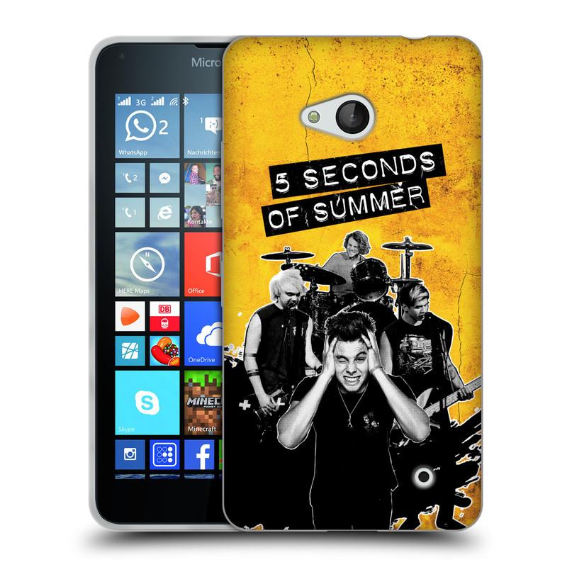 Silikonové pouzdro na mobil Microsoft Lumia 640 HEAD CASE 5 Seconds of Summer - Band Yellow (Silikonový kryt či obal na mobilní telefon licencovaným motivem 5 Seconds of Summer pro Microsoft Lumia 640)