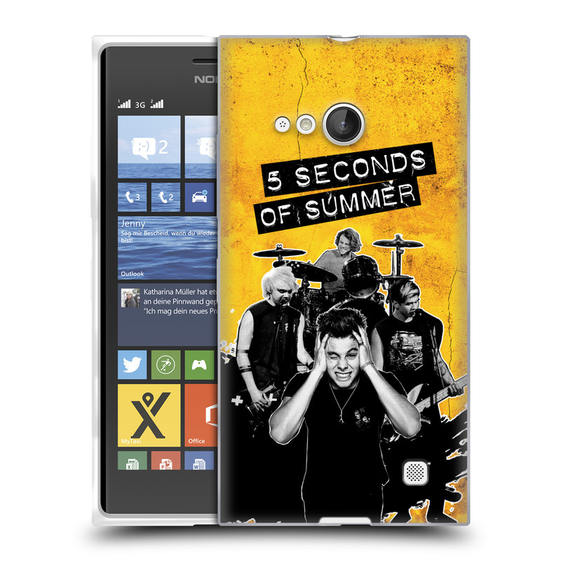 Silikonové pouzdro na mobil Nokia Lumia 730 Dual SIM HEAD CASE 5 Seconds of Summer - Band Yellow (Silikonový kryt či obal na mobilní telefon licencovaným motivem 5 Seconds of Summer pro Nokia Lumia 730 Dual SIM)