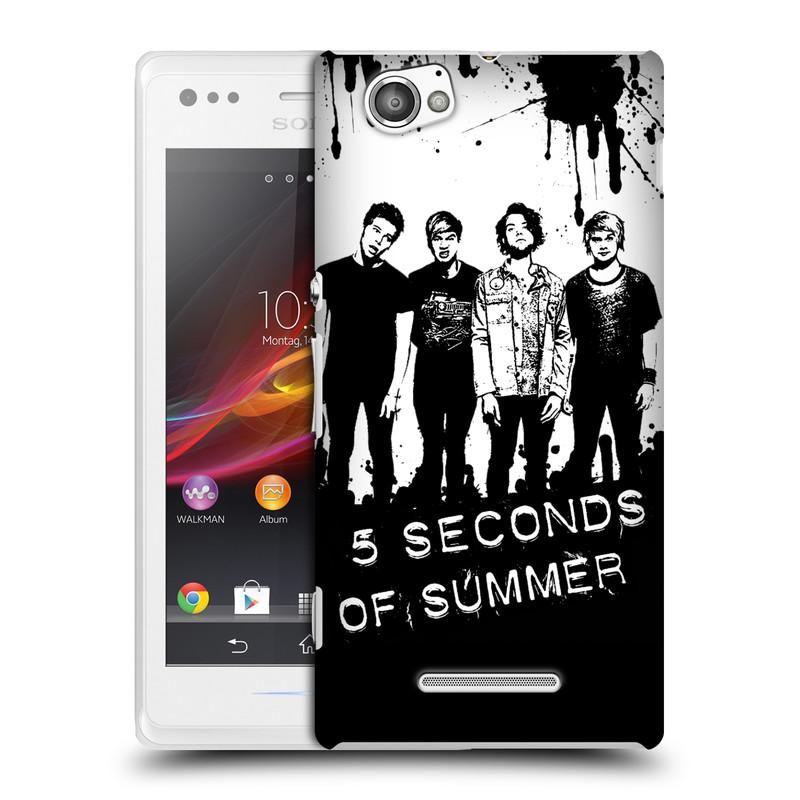 Plastové pouzdro na mobil Sony Xperia M C1905 HEAD CASE 5 Seconds of Summer - Band Black and White (Plastový kryt či obal na mobilní telefon licencovaným motivem 5 Seconds of Summer pro Sony Xperia M )