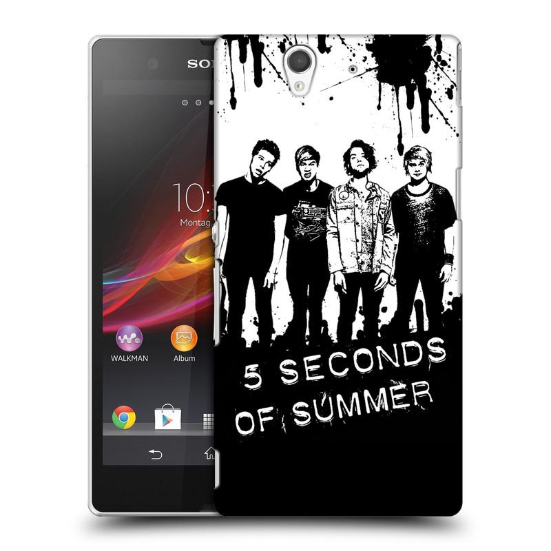 Plastové pouzdro na mobil Sony Xperia Z C6603 HEAD CASE 5 Seconds of Summer - Band Black and White (Plastový kryt či obal na mobilní telefon licencovaným motivem 5 Seconds of Summer pro Sony Xperia Z)