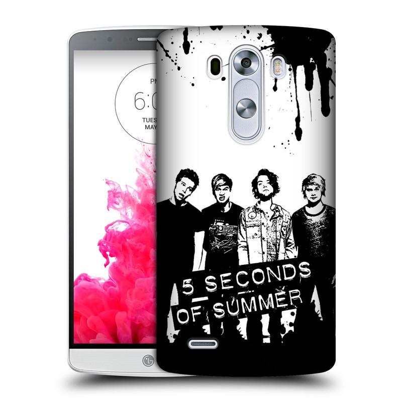 Plastové pouzdro na mobil LG G3 HEAD CASE 5 Seconds of Summer - Band Black and White (Plastový kryt či obal na mobilní telefon licencovaným motivem 5 Seconds of Summer pro LG G3)