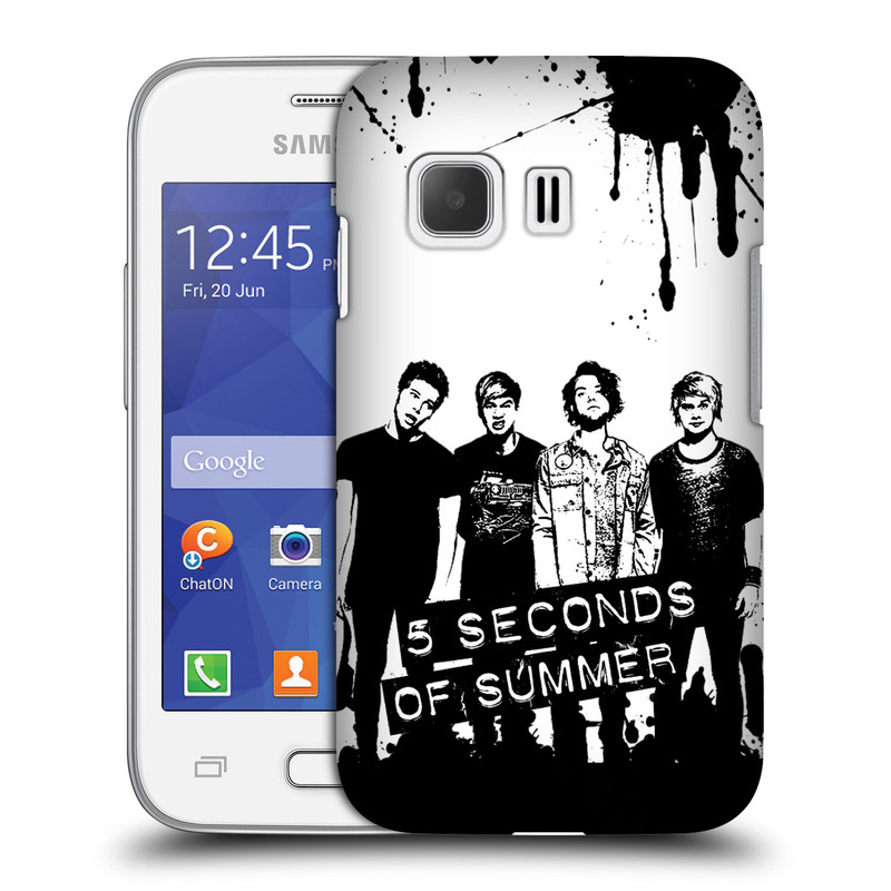Plastové pouzdro na mobil Samsung Galaxy Young 2 HEAD CASE 5 Seconds of Summer - Band Black and White (Plastový kryt či obal na mobilní telefon licencovaným motivem 5 Seconds of Summer pro Samsung Galaxy Young 2 SM-G130)