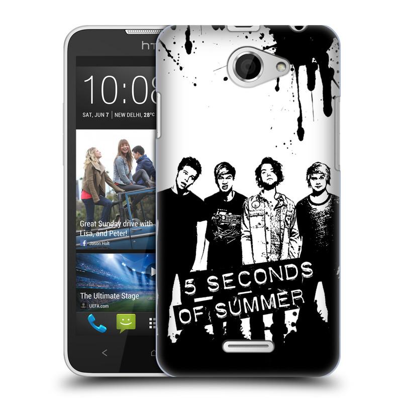 Plastové pouzdro na mobil HTC Desire 516 HEAD CASE 5 Seconds of Summer - Band Black and White (Plastový kryt či obal na mobilní telefon licencovaným motivem 5 Seconds of Summer pro HTC Desire 516 Dual SIM)