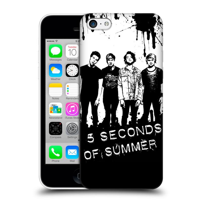 Plastové pouzdro na mobil Apple iPhone 5C HEAD CASE 5 Seconds of Summer - Band Black and White (Plastový kryt či obal na mobilní telefon licencovaným motivem 5 Seconds of Summer pro Apple iPhone 5C)