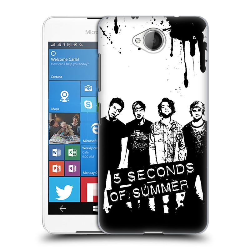 Plastové pouzdro na mobil Microsoft Lumia 650 HEAD CASE 5 Seconds of Summer - Band Black and White (Plastový kryt či obal na mobilní telefon licencovaným motivem 5 Seconds of Summer pro Microsoft Lumia 650)