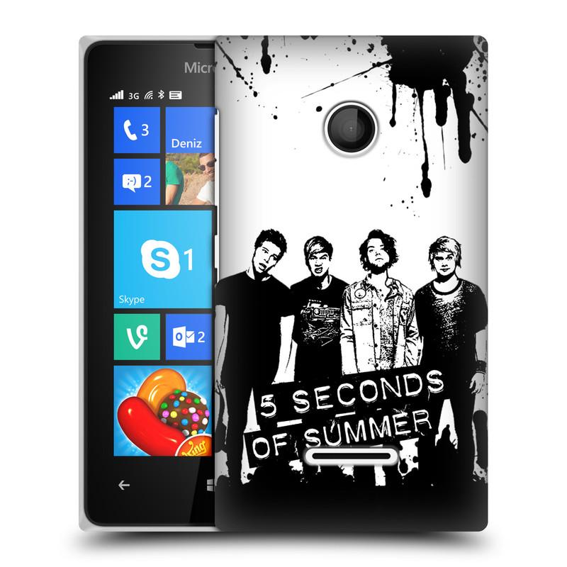 Plastové pouzdro na mobil Microsoft Lumia 435 HEAD CASE 5 Seconds of Summer - Band Black and White (Plastový kryt či obal na mobilní telefon licencovaným motivem 5 Seconds of Summer pro Microsoft Lumia 435)