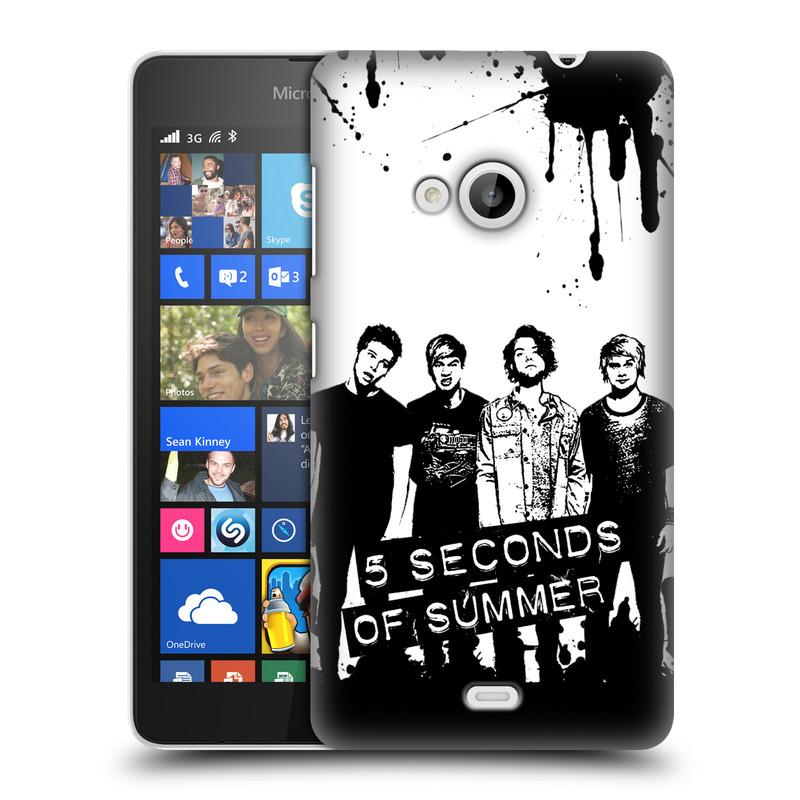 Plastové pouzdro na mobil Microsoft Lumia 535 HEAD CASE 5 Seconds of Summer - Band Black and White (Plastový kryt či obal na mobilní telefon licencovaným motivem 5 Seconds of Summer pro Microsoft Lumia 535)