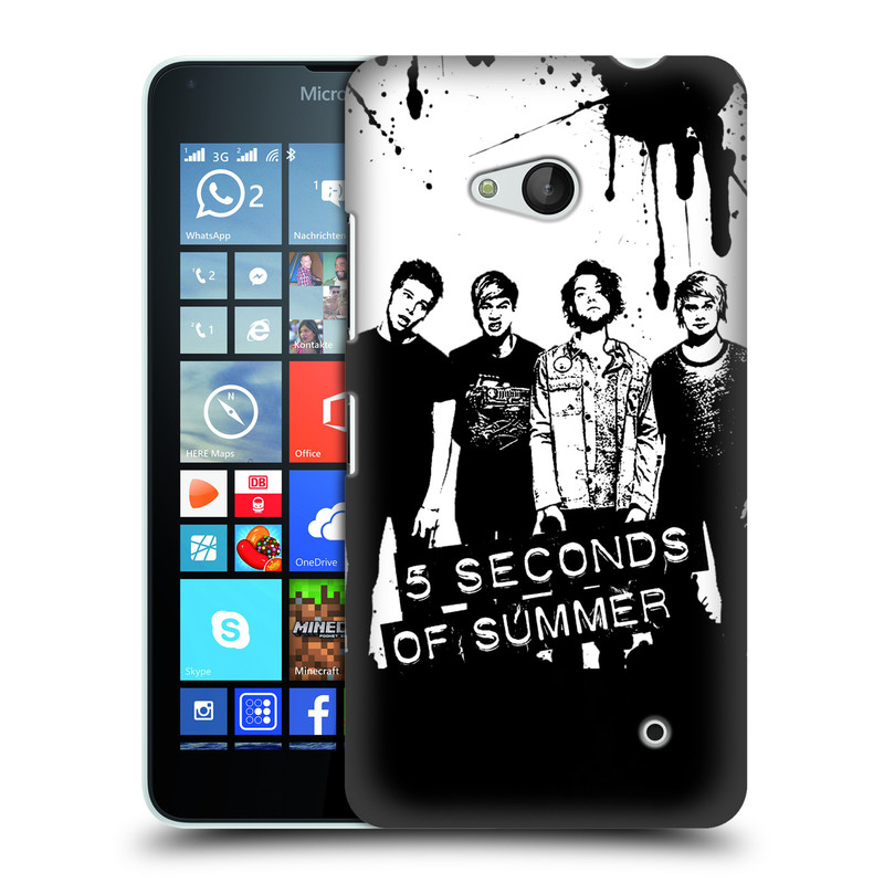 Plastové pouzdro na mobil Microsoft Lumia 640 HEAD CASE 5 Seconds of Summer - Band Black and White (Plastový kryt či obal na mobilní telefon licencovaným motivem 5 Seconds of Summer pro Microsoft Lumia 640)
