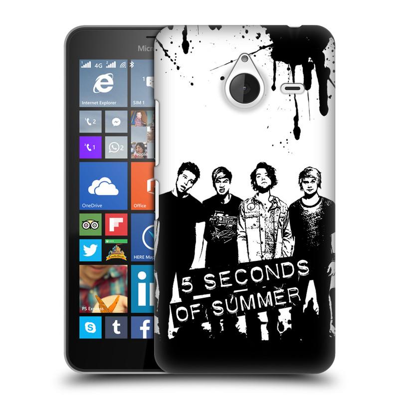 Plastové pouzdro na mobil Microsoft Lumia 640 XL HEAD CASE 5 Seconds of Summer - Band Black and White (Plastový kryt či obal na mobilní telefon licencovaným motivem 5 Seconds of Summer pro Microsoft Lumia 640 XL)