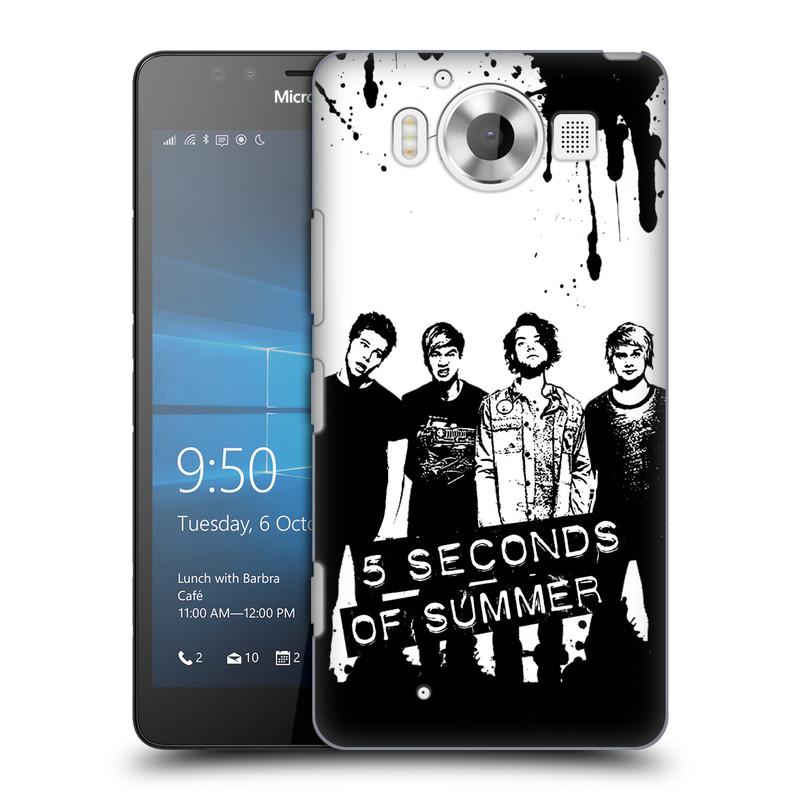 Plastové pouzdro na mobil Microsoft Lumia 950 HEAD CASE 5 Seconds of Summer - Band Black and White (Plastový kryt či obal na mobilní telefon licencovaným motivem 5 Seconds of Summer pro Microsoft Lumia 950)
