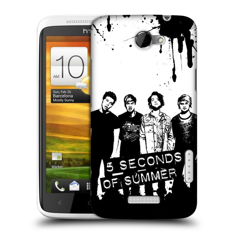 Plastové pouzdro na mobil HTC ONE X HEAD CASE 5 Seconds of Summer - Band Black and White (Plastový kryt či obal na mobilní telefon licencovaným motivem 5 Seconds of Summer pro HTC ONE X)