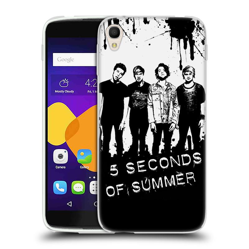 Silikonové pouzdro na mobil Alcatel One Touch 6045Y Idol 3 HEAD CASE 5 Seconds of Summer - Band Black and White (Silikonový kryt či obal na mobilní telefon licencovaným motivem 5 Seconds of Summer pro Alcatel One Touch Idol 3 OT-6045Y)
