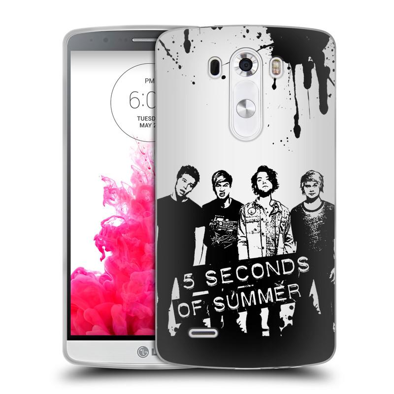Silikonové pouzdro na mobil LG G3 HEAD CASE 5 Seconds of Summer - Band Black and White (Silikonový kryt či obal na mobilní telefon licencovaným motivem 5 Seconds of Summer pro LG G3)