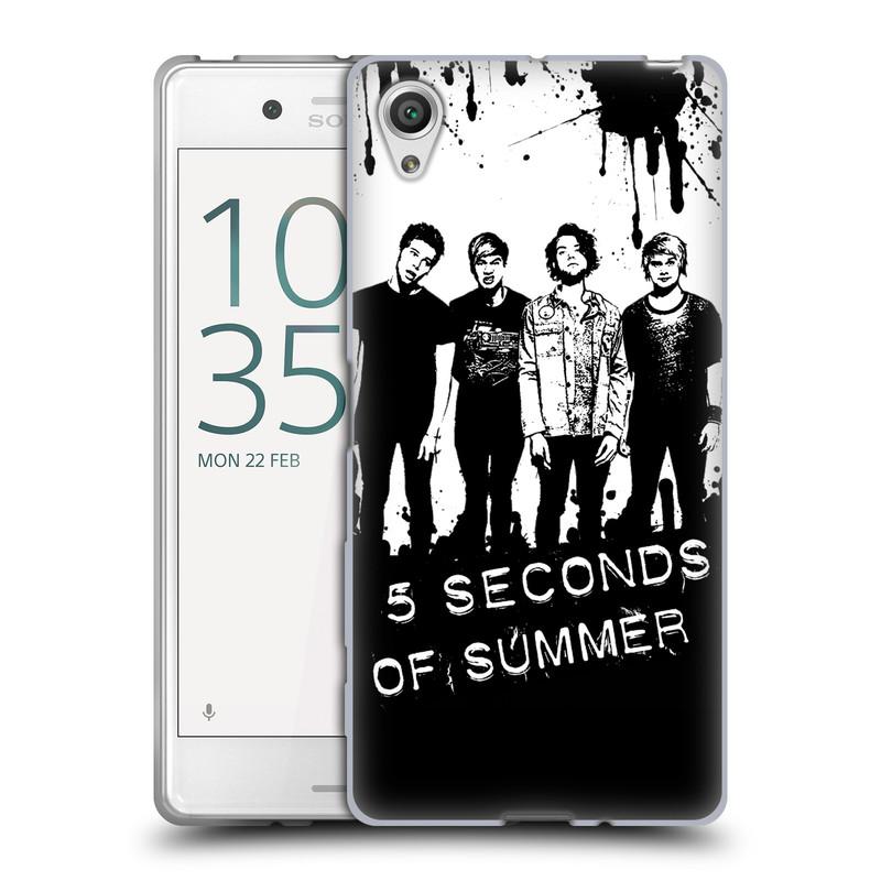 Silikonové pouzdro na mobil Sony Xperia X HEAD CASE 5 Seconds of Summer - Band Black and White (Silikonový kryt či obal na mobilní telefon licencovaným motivem 5 Seconds of Summer pro Sony Xperia X F5121 / Dual SIM F5122)