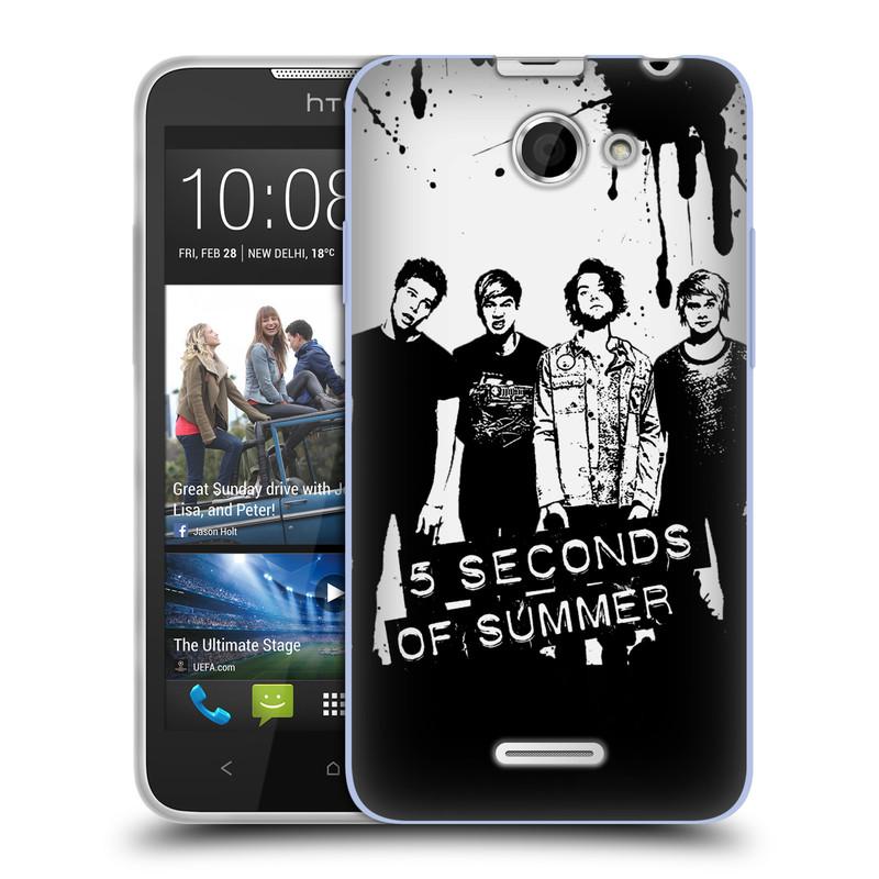 Silikonové pouzdro na mobil HTC Desire 516 HEAD CASE 5 Seconds of Summer - Band Black and White (Silikonový kryt či obal na mobilní telefon licencovaným motivem 5 Seconds of Summer pro HTC Desire 516 Dual SIM)
