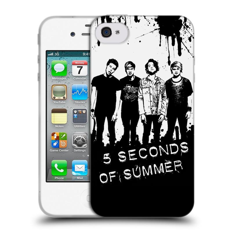 Silikonové pouzdro na mobil Apple iPhone 4 a 4S HEAD CASE 5 Seconds of Summer - Band Black and White (Silikonový kryt či obal na mobilní telefon licencovaným motivem 5 Seconds of Summer pro Apple iPhone 4 a 4S)