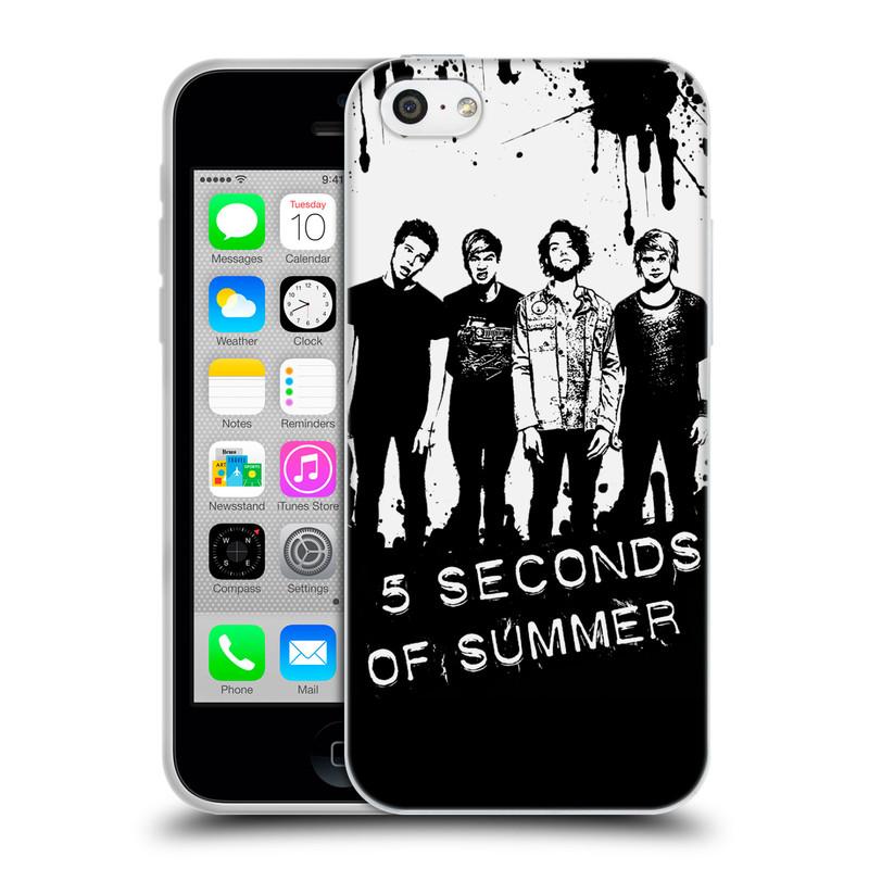 Silikonové pouzdro na mobil Apple iPhone 5C HEAD CASE 5 Seconds of Summer - Band Black and White (Silikonový kryt či obal na mobilní telefon licencovaným motivem 5 Seconds of Summer pro Apple iPhone 5C)