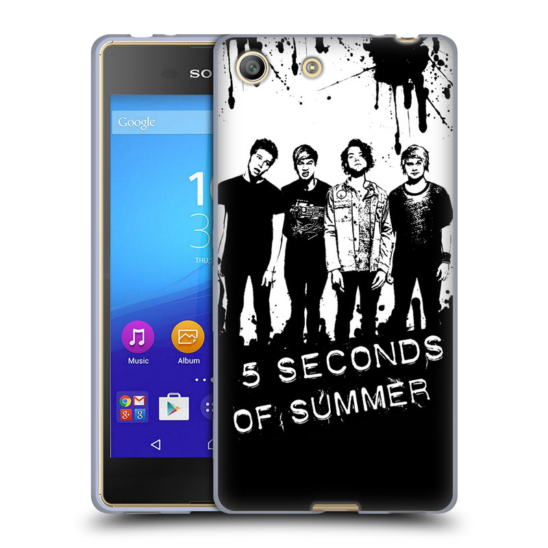 Silikonové pouzdro na mobil Sony Xperia M5 HEAD CASE 5 Seconds of Summer - Band Black and White (Silikonový kryt či obal na mobilní telefon licencovaným motivem 5 Seconds of Summer pro Sony Xperia M5 Dual SIM / Aqua)