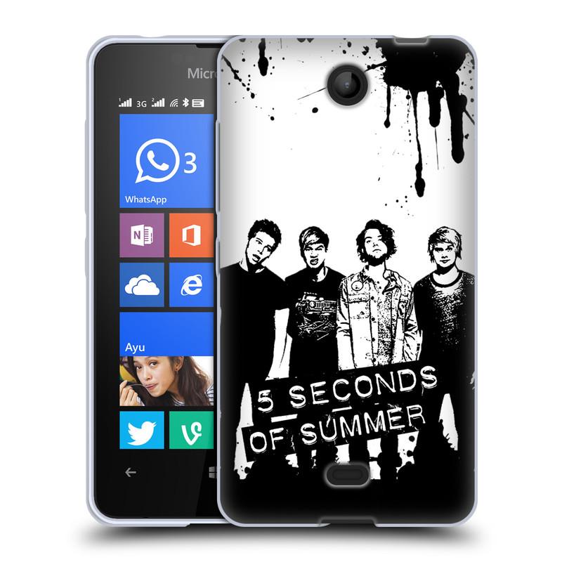 Silikonové pouzdro na mobil Microsoft Lumia 430 HEAD CASE 5 Seconds of Summer - Band Black and White (Silikonový kryt či obal na mobilní telefon licencovaným motivem 5 Seconds of Summer pro Microsoft Lumia 430 a Microsoft Lumia 430 Dual SIM)