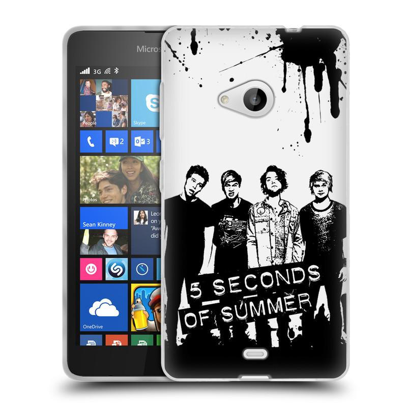 Silikonové pouzdro na mobil Microsoft Lumia 535 HEAD CASE 5 Seconds of Summer - Band Black and White (Silikonový kryt či obal na mobilní telefon licencovaným motivem 5 Seconds of Summer pro Microsoft Lumia 535)