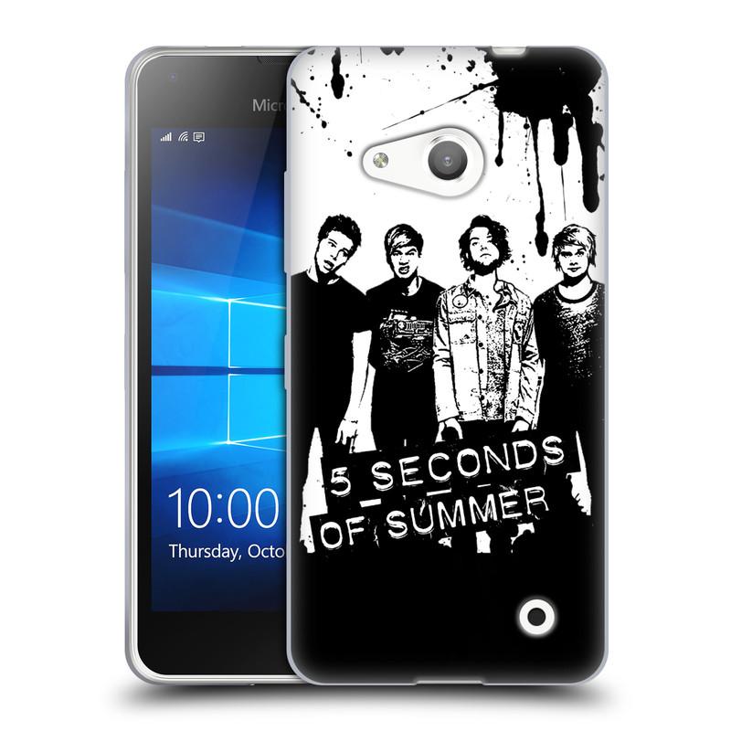 Silikonové pouzdro na mobil Microsoft Lumia 550 HEAD CASE 5 Seconds of Summer - Band Black and White (Silikonový kryt či obal na mobilní telefon licencovaným motivem 5 Seconds of Summer pro Microsoft Lumia 550)