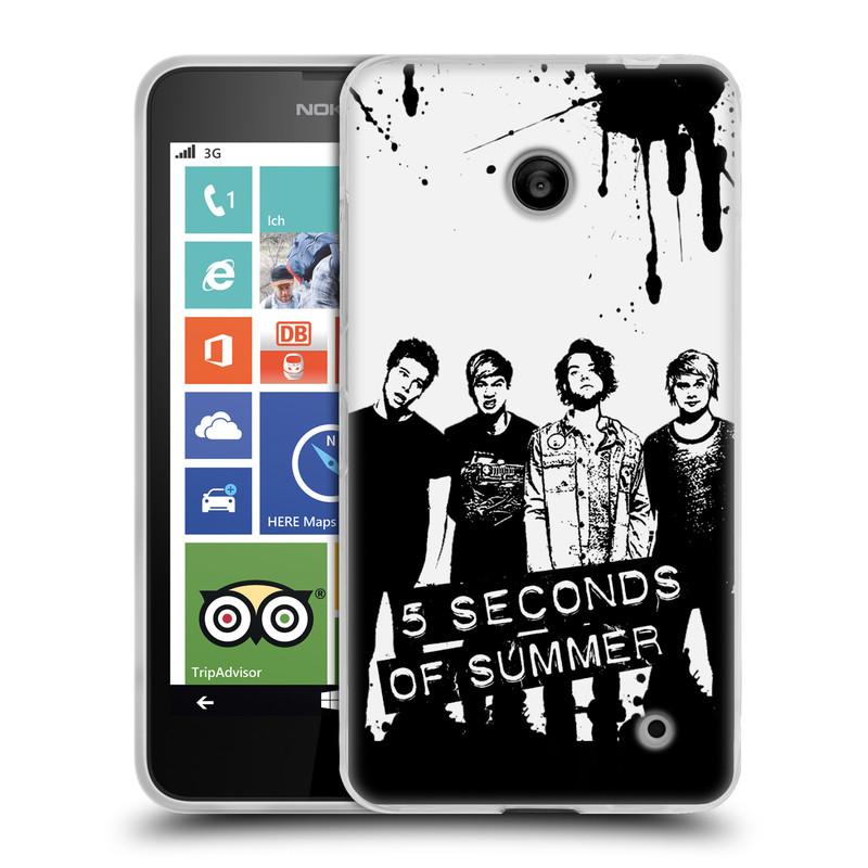 Silikonové pouzdro na mobil Nokia Lumia 630 HEAD CASE 5 Seconds of Summer - Band Black and White (Silikonový kryt či obal na mobilní telefon licencovaným motivem 5 Seconds of Summer pro Nokia Lumia 630 a Nokia Lumia 630 Dual SIM)