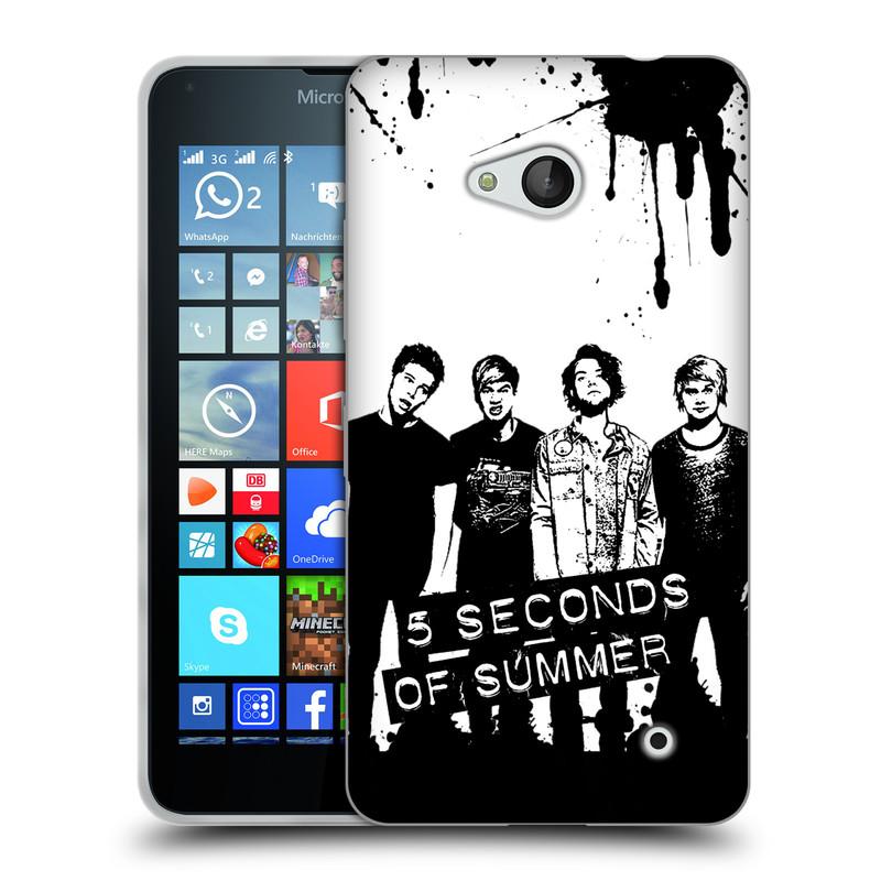 Silikonové pouzdro na mobil Microsoft Lumia 640 HEAD CASE 5 Seconds of Summer - Band Black and White (Silikonový kryt či obal na mobilní telefon licencovaným motivem 5 Seconds of Summer pro Microsoft Lumia 640)