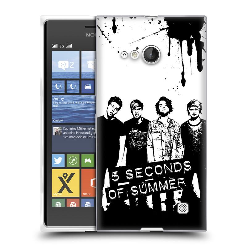Silikonové pouzdro na mobil Nokia Lumia 730 Dual SIM HEAD CASE 5 Seconds of Summer - Band Black and White (Silikonový kryt či obal na mobilní telefon licencovaným motivem 5 Seconds of Summer pro Nokia Lumia 730 Dual SIM)
