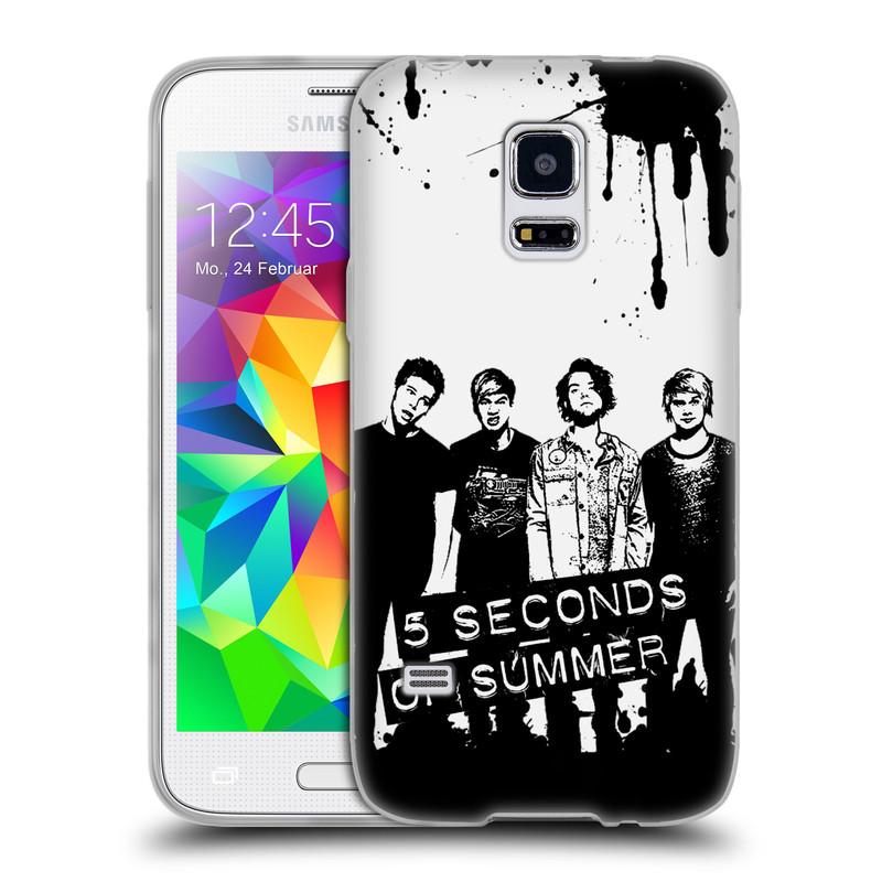 Silikonové pouzdro na mobil Samsung Galaxy S5 Mini HEAD CASE 5 Seconds of Summer - Band Black and White (Silikonový kryt či obal na mobilní telefon licencovaným motivem 5 Seconds of Summer pro Samsung Galaxy S5 Mini SM-G800F)