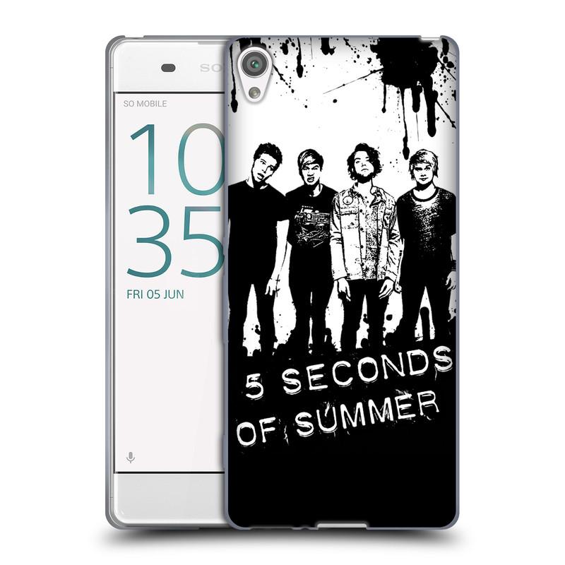 Silikonové pouzdro na mobil Sony Xperia XA HEAD CASE 5 Seconds of Summer - Band Black and White (Silikonový kryt či obal na mobilní telefon licencovaným motivem 5 Seconds of Summer pro Sony Xperia XA F3111 / Dual SIM F3112)